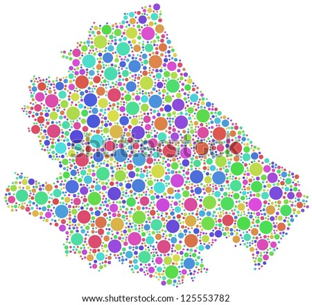 Map of Abruzzo - Italy - in a mosaic of harlequin bubbles. A number of 2128 little circles are accurately inserted into the mosaic. White background. - stock vector