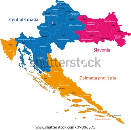 Map of administrative divisions of Republic of Croatia - stock vector
