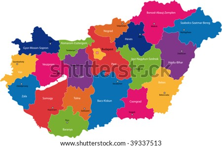 Map of administrative divisions of Republic of Hungary