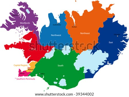 Map of administrative divisions of Republic of Iceland