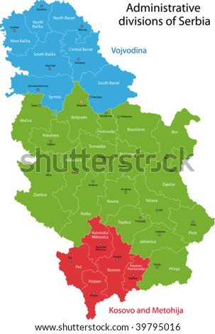 Map of administrative divisions of Republic of Serbia
