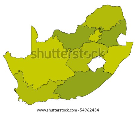 map of administrative divisions of republic of south africa in green colors - stock vector