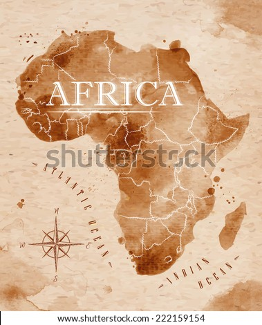 map of africa in old style in...