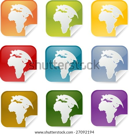 Map of Africa on sticker icon, various colors set