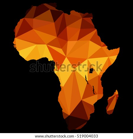 Map of Africa polygon, made of gold color, vector illustration.