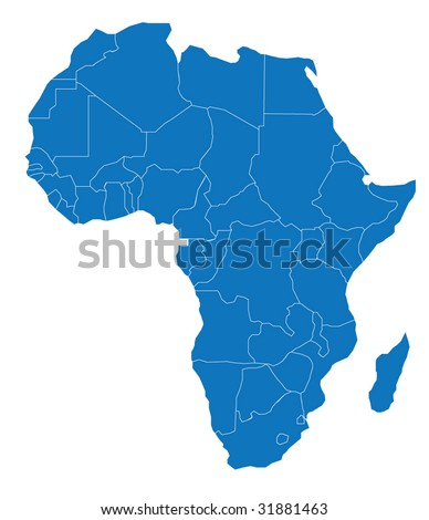 Map of Africa. The African Continent - Separable Borders for each country! - .EPS Vector Scalable to any size!