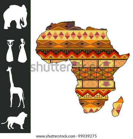 Map of Africa with decorative pattern and silhouette collection