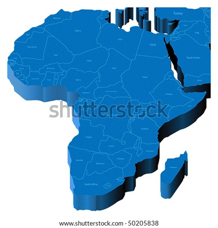 Map of Africa with national borders and country names. Pseudo-3d vector illustration.