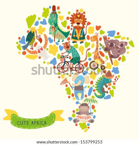 Map of Africa with wild animals from Africa.iguana giraffe hippo elephant crocodile jaguar lion koala vulture