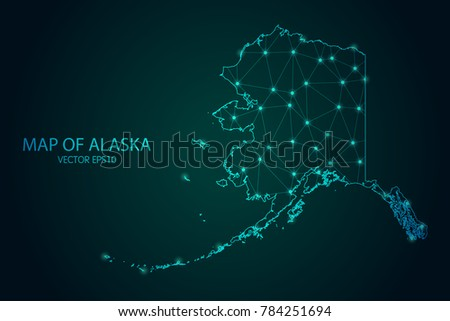 map of alaska   with glowing
