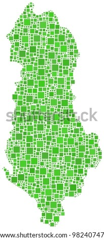 Map of Albania (Europe) in a mosaic of green squares on white background