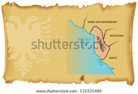 Map of Albania on the ancient parchment. Vector illustration.