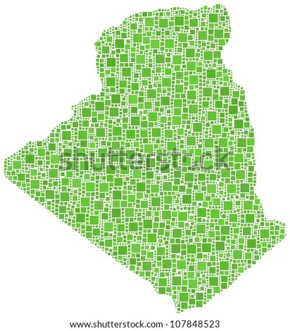 Map of Algeria - Africa - in a mosaic of green squares