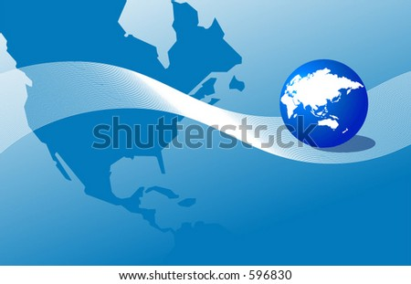 Map of America and a globe showing Europe, Asia and Australia - stock vector