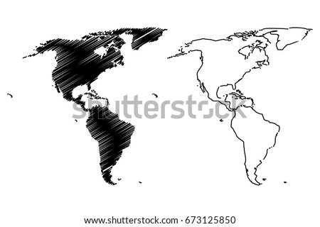 Map of America vector illustration, scribble sketch America