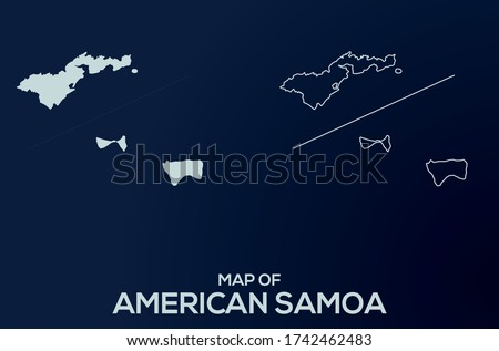 Map of  American Samoa. Abstract design, vector illustration by using adobe illustrator. American Samoa isolated map. American Samoa Outline map. Editable Map design.