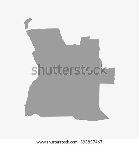 map  of angola in gray on a