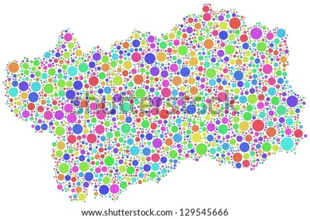Map of Aosta Valley - Italy - in a mosaic of harlequin circles - stock vector