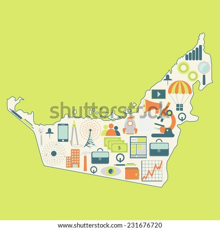 Map of Arab Emirates with technology icons. Contour map of Arab Emirates with icons of technology, business, science, communication