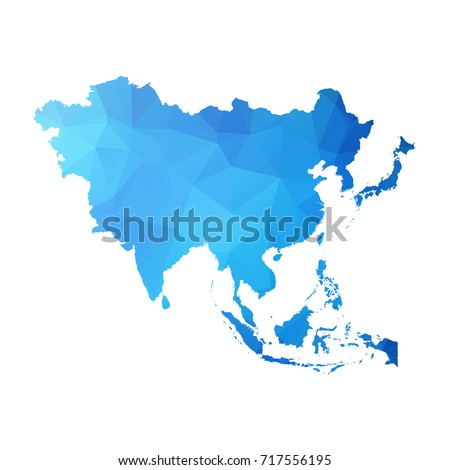 Map of Asia - Blue Geometric Rumpled Triangular , Polygonal Design For Your . Vector illustration Eps10.