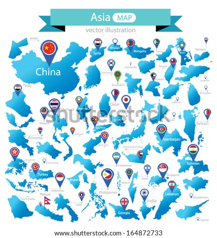 Map of Asia. Country. flag pointer. vector Illustration.