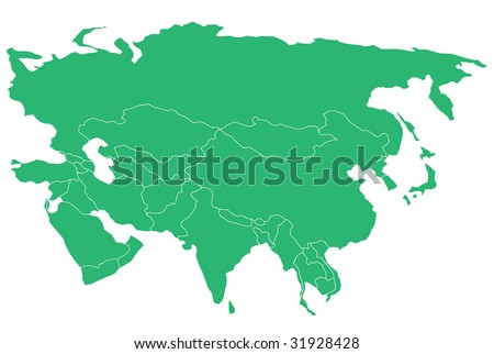 Map of Asia & Middle East. Separable Borders.