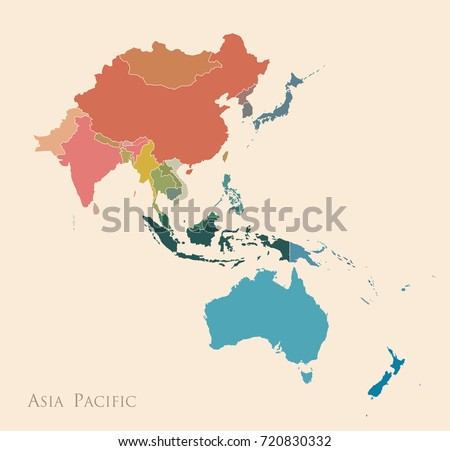 Map of Asia Pacific. Vintage color