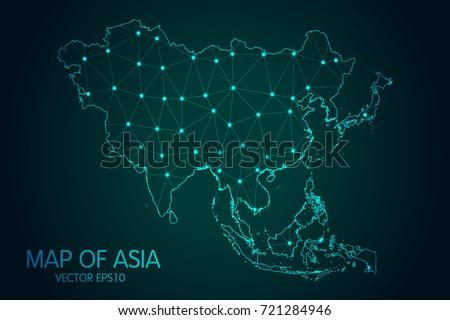 Map of Asia - With glowing point and lines scales on the dark gradient background, 3D mesh polygonal network connections.Vector illustration eps10.
