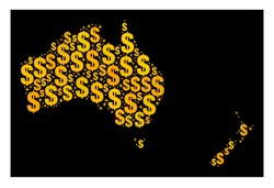 Map of Australia and New Zealand of golden dollar signs. Flat design for banking advertisement. Abstract map of Australia and New Zealand in yellow colors.