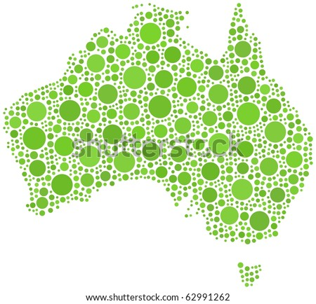Map of Australia in a mosaic of circles - stock vector
