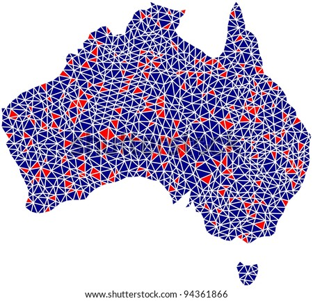 Map of Australia in a mosaic of triangles