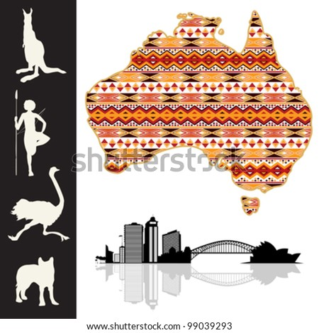 Map of Australia with decorative pattern and silhouette collection - stock vector