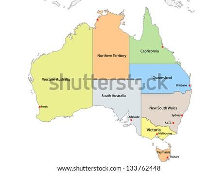 Map of Australia with internal regional boundaries, vector