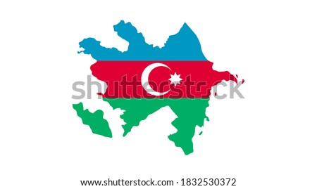 Map of Azerbaijan - Flag is a fully layered, editable vector map file.