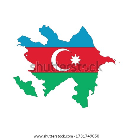 Map of Azerbaijan. Vector design isolated on white background. Shape of Azerbaijan map filled up with Azerbaijan flag colors.