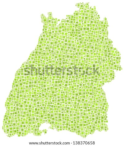 Map of Baden Wurttemberg - Germany - in a mosaic of green squares