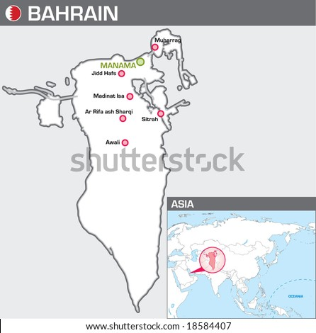 Bahrain Map Vector Map of Bahrain