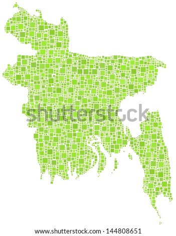 Map of Bangladesh - Asia - in a mosaic of green squares. A number of 2720 little squares are accurately inserted into the mosaic. White background.