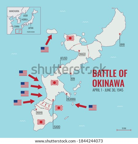map of battle of okinawa during