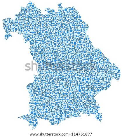 Map of Bavaria - German - in a mosaic of blue circles