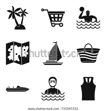 map of beach icons set simple