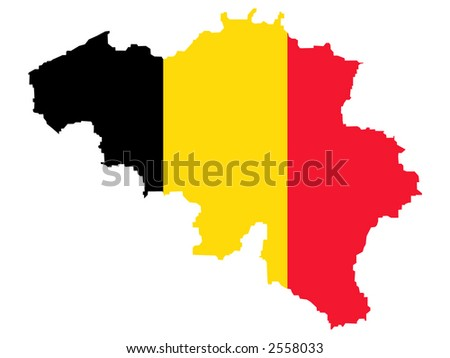 map of Belgium and Belgian flag illustration