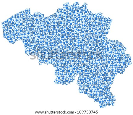 Map of Belgium - Europe - in a mosaic of blue circles. A number of 3980 bubbles have been inserted into the mosaic