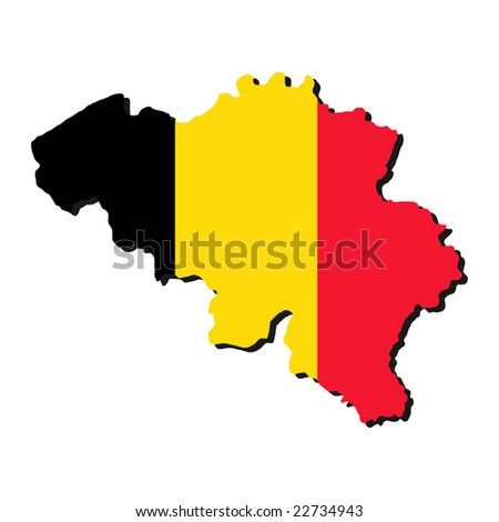map of Belgium with their flag illustration - stock vector