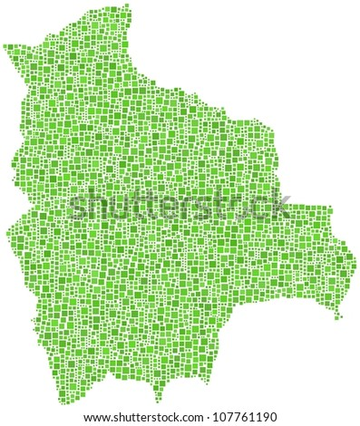 Map of Bolivia - Latin America - in a mosaic of green squares.  A number of 3961 little squares are accurately inserted into the mosaic. White background.