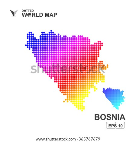 map of bosnia dotted vector