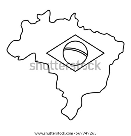 Shutterstock Map of Brasil icon. Outline illustration of map of Brasil vector icon for web