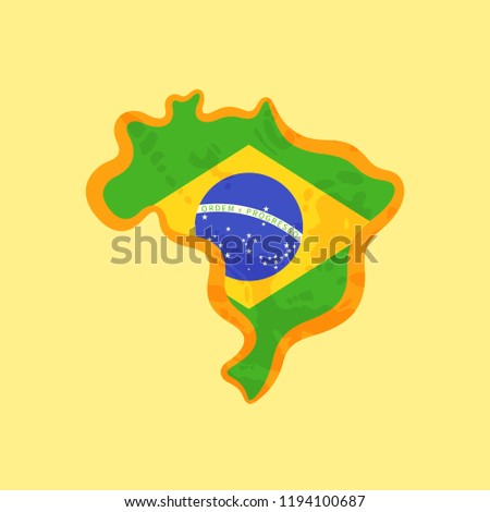 Map of Brazil colored with Brazilian flag and marked with golden line in grunge vintage style.
