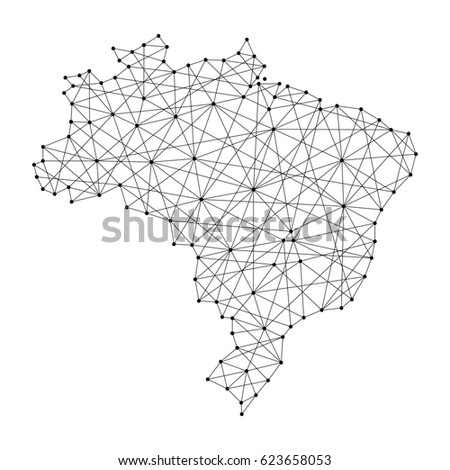 map of brazil from polygonal