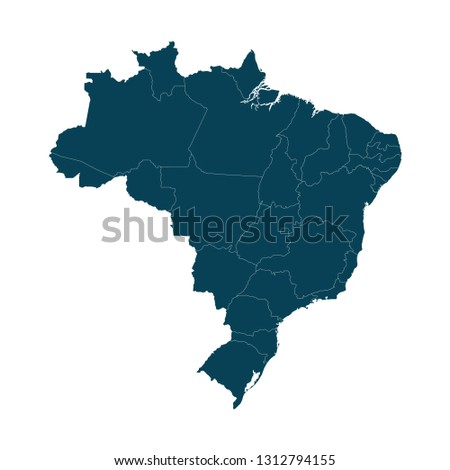 Map of Brazil - High detailed on white background. Abstract design vector illustration eps 10.